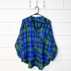 BDG Blue Green Oversized Plaid Flannel Button-Up